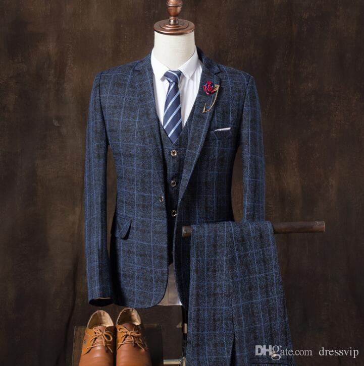 2018 Mens Suits Classic Tweed Herringbone Check Grey Navy Slim Fit Vintage Suit Groomsmen Wear Top Quality