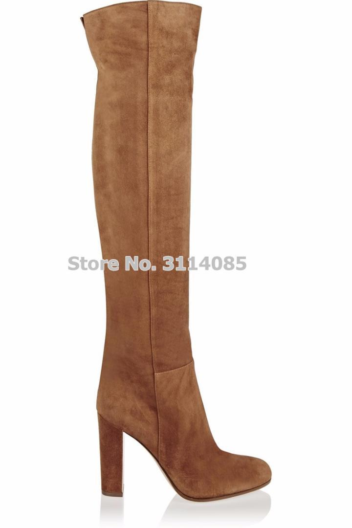 794cda04fa3 Women Top Brand Brown Suede Chunky Heel Knee Boots European Style Thick High  Heels Celebrity Stage Boots Tall Dress Shoes Chelsea Boots Shoes Online  From ...