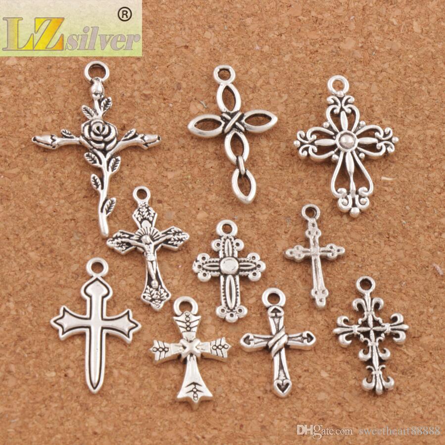 100 stks / partij Leuke Bloem Design Cross Charm Beads 10Styles Mic Tibetan Silver Hangers Sieraden DIY Bevindingen Componenten LM45