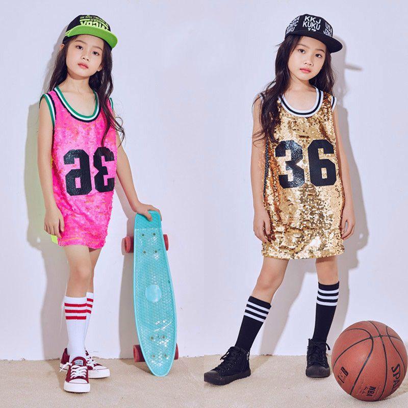 689c8a915893c Compre Nuevo Niño Ropa De Hip Hop Trajes De Danza Para Las Niñas Moderno  Jazz Danza Lentejuelas Chaleco Fluorescente Niños Etapa Rendimiento Vestido  De ...