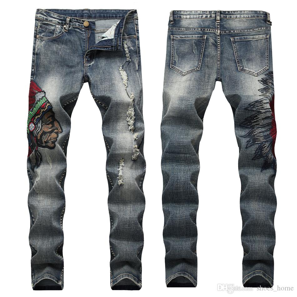 def46b28ab7 Men s Slim Fit Stretch Pants Ripped Black Jeans with American Indian ...