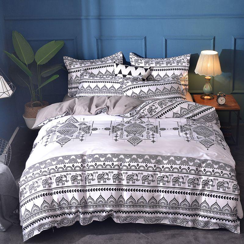 Bohemian Elephant Duvet Covesr Black White Bedding Set Ethnic Style