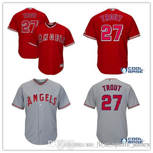 565429f838f Großhandel Männer Los Angeles Angels Von Anaheim Mike Trout 27   Baseball  Jersey Majestic Scarlet Alternative Große Tall Cool Base Player Stickerei  Je Von ...