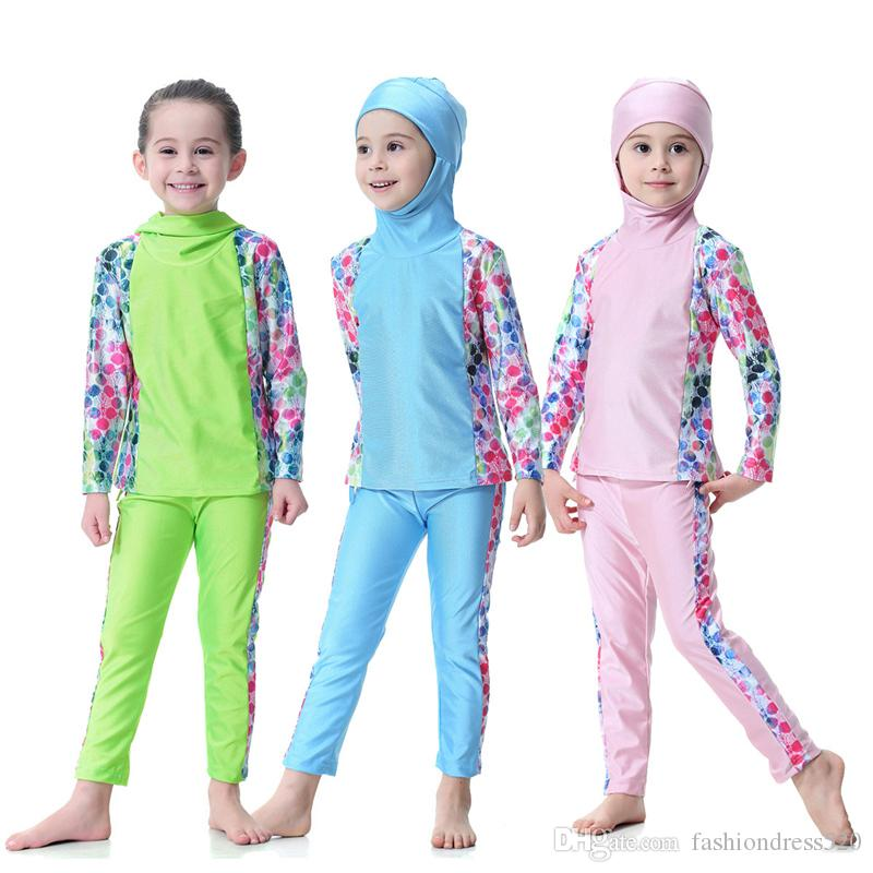 2018 Top Quality Modest Covered Swimwear For Young Girls Long Sleeve Islamic Swimsuit For Muslim hijabs Islam Beach Wear Hijab Set