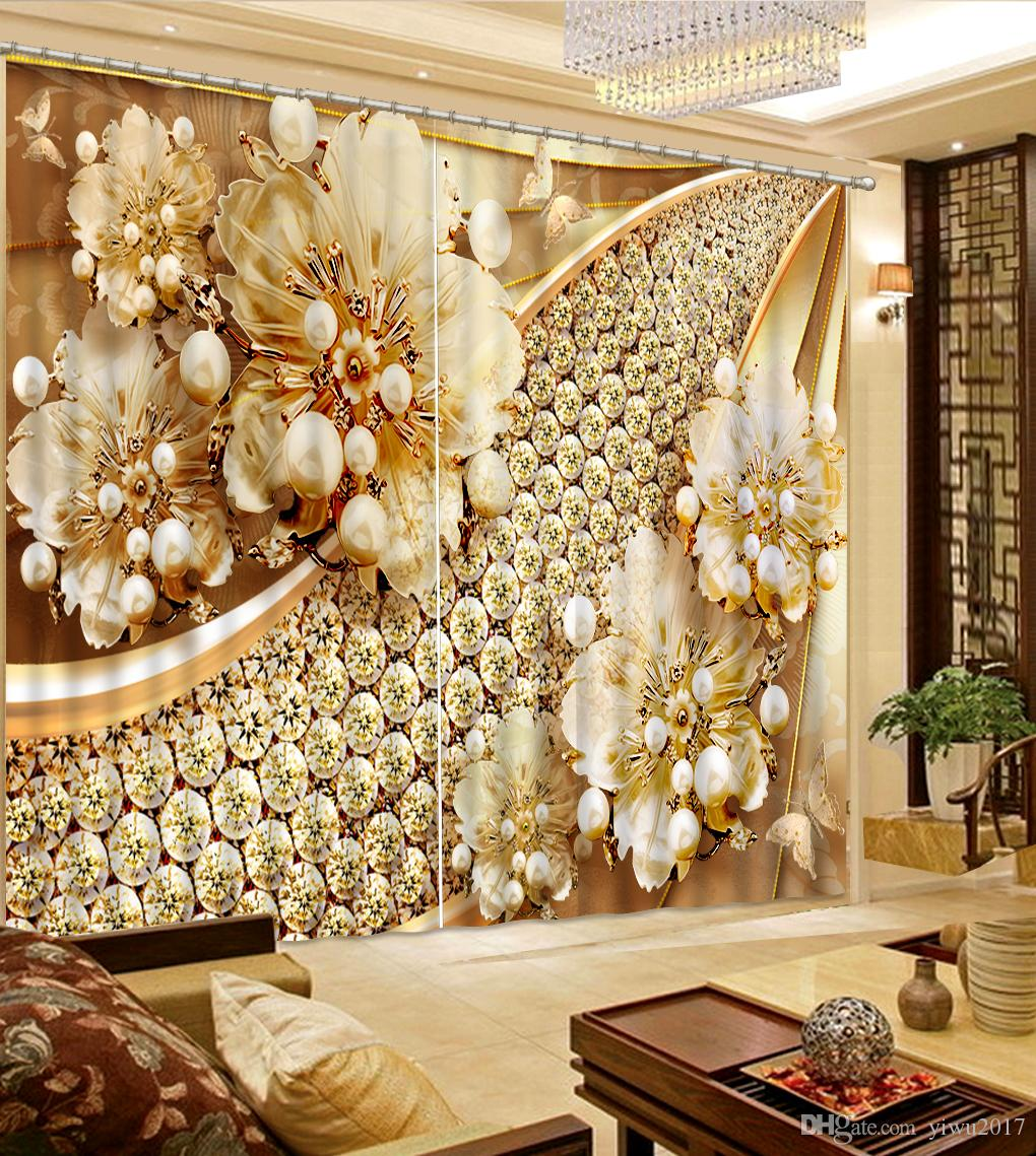 Style européen rideaux sac souple fleurs 3D rideaux pour salon 3D Blackout décoration de fenêtre rideau