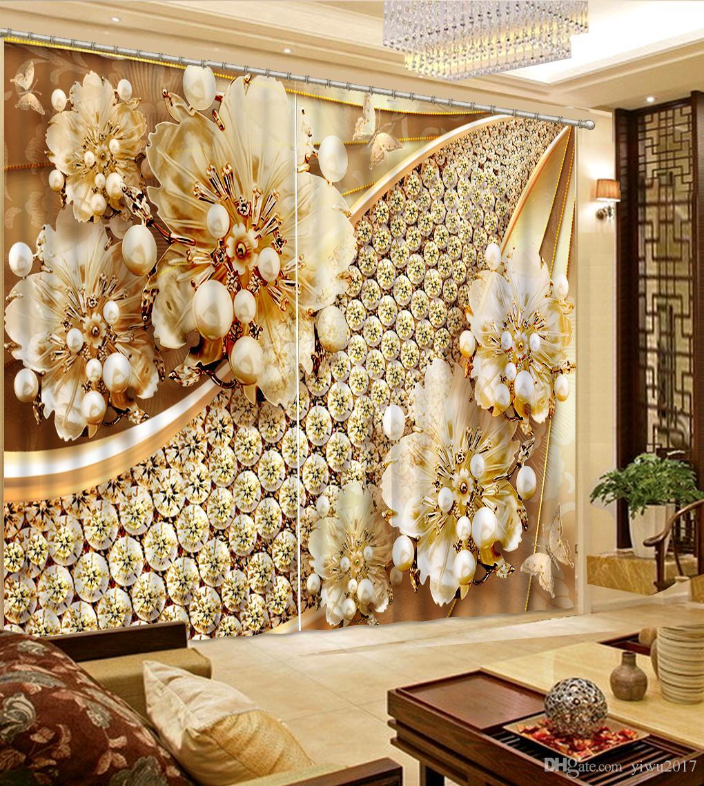 Tende di stile europeo Sacchetti di fiori morbidi 3D tende soggiorno Decorazione 3D finestra tenda oscurante