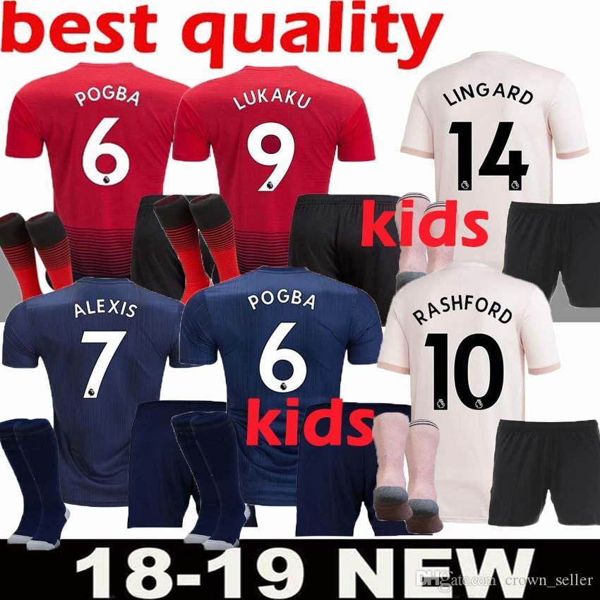 fc26c6028 2018 2019 Manchester United Kids Jerseys Soccer Kit Away Pink ALEXIS ...