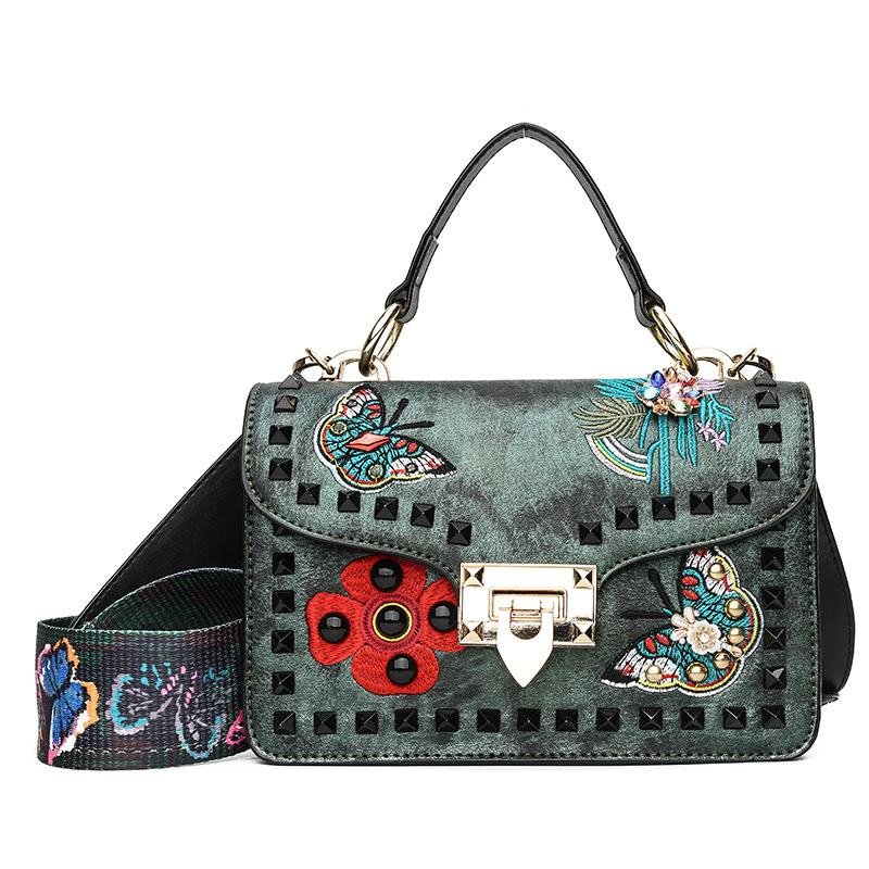 AIBKHK PU Leather Women Handbags Fashion Colored Butterfly Embroidery  Button Purple Shoulder Bags Casual Shopping Crossbody Bag Top-Handle Bags  Cheap ... 5d0871a11c2ac