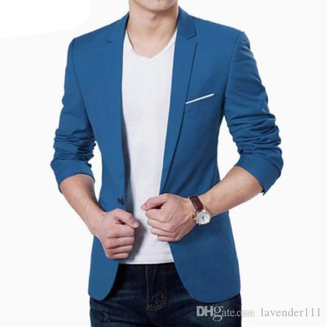 ff8aeb50f92d7 Mens Korean Slim Fit Fashion Cotton Blazer Suit Jacket Black Blue ...