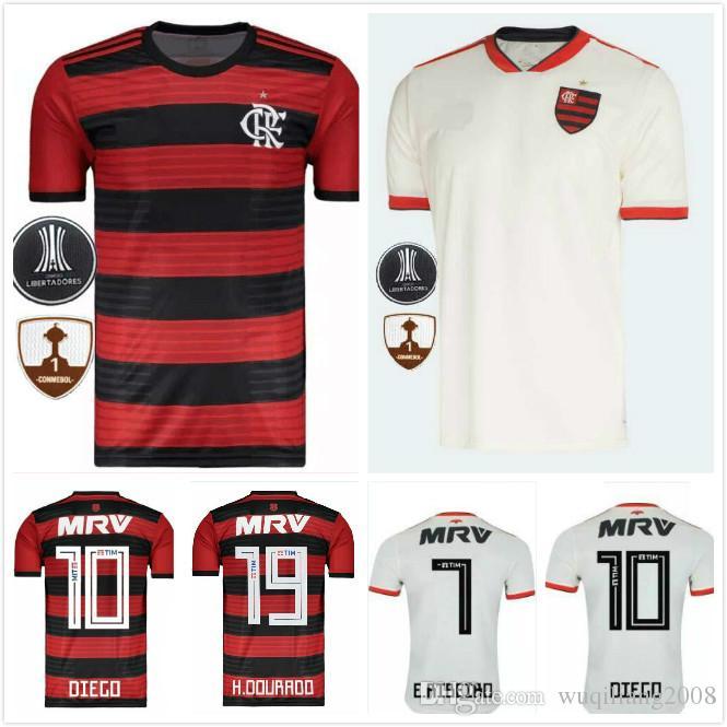 Compre Alta Qualidade 2018 Flamengo Camisa De Futebol 18 19 Flamenco DIEGO  GUERRERO E. RIBEIRO MANCUELLO VINICIUS JR Brasil League 18 19 Camisa De  Futebol ... 2a5f33763581e