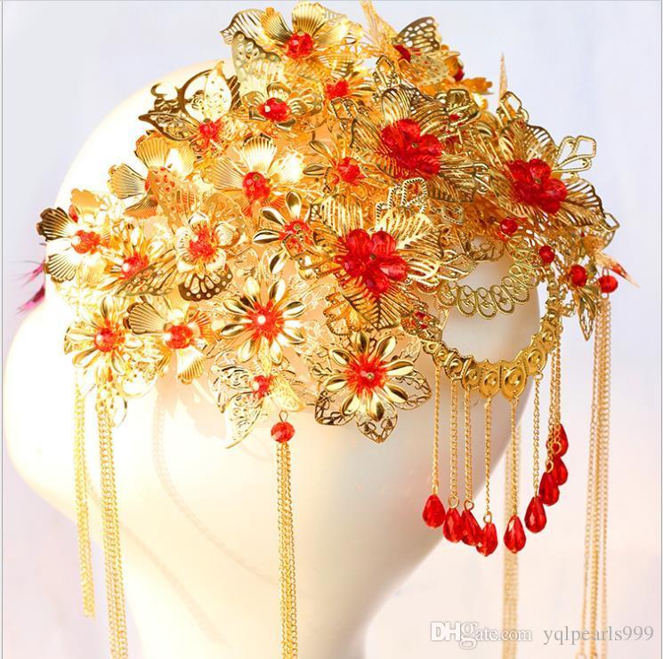 Kostüm gelin headdress saçaklı tarak klasik Coronet