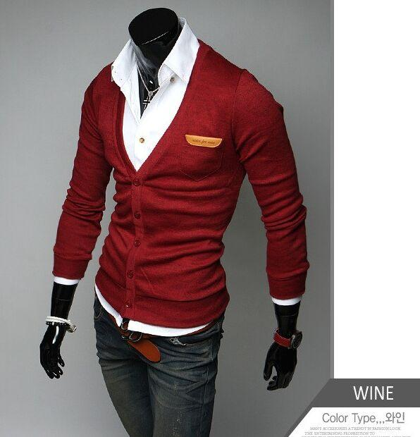 2016 new arrival Men's clothing slim thin Metrosexual cardigan male Solid color V collar long-sleeve sweater & jacket in