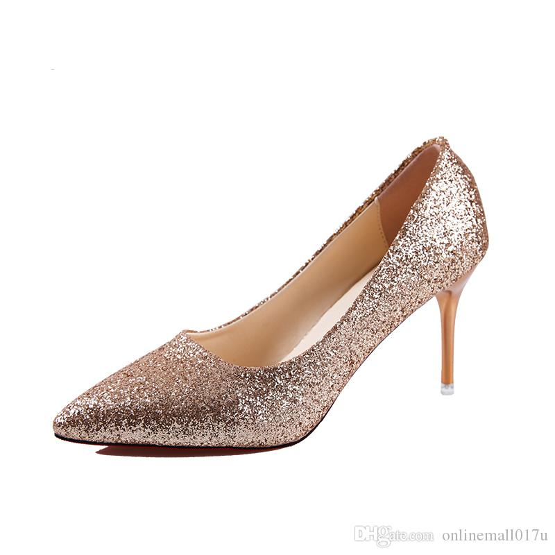 Dress Women Pumps Luxury Glitter High Heel Lady Shoes Woman Pointed Toe  Sexy Wedding Party Shoes Gold Silver Online with  44.58 Piece on  Onlinemall017u s ... 2cc49a0ce8e2