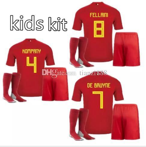 buy popular d0c14 ce85d kids Belgium kits Soccer Jersey 18 19 LUKAKU FELLAINI E.HAZARD KOMPANY DE  BRUYNE football sets uniforms jerseys shirt bilishi
