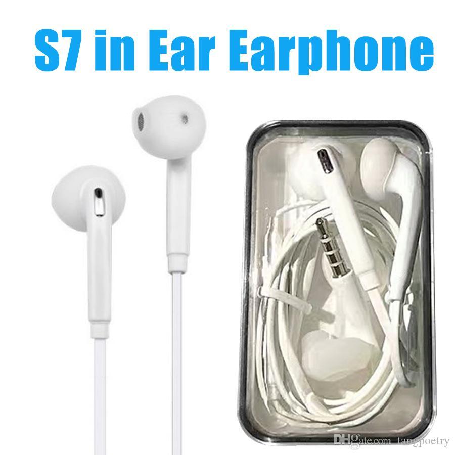 Auricolari per cuffie S6 S7 edgeGalaxy Cuffie auricolari di alta qualità  con microfono Controllo del volume per Iphone 5 6s con scatola al minuto