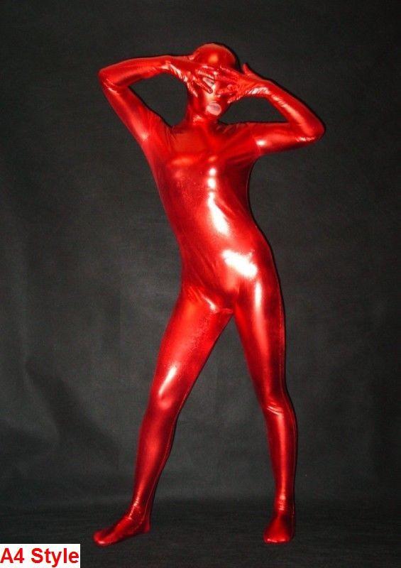 4 Style Metallic Red Lycra Spandex Catsuit Halloween-Party-Zentai Kostüme S-XXL