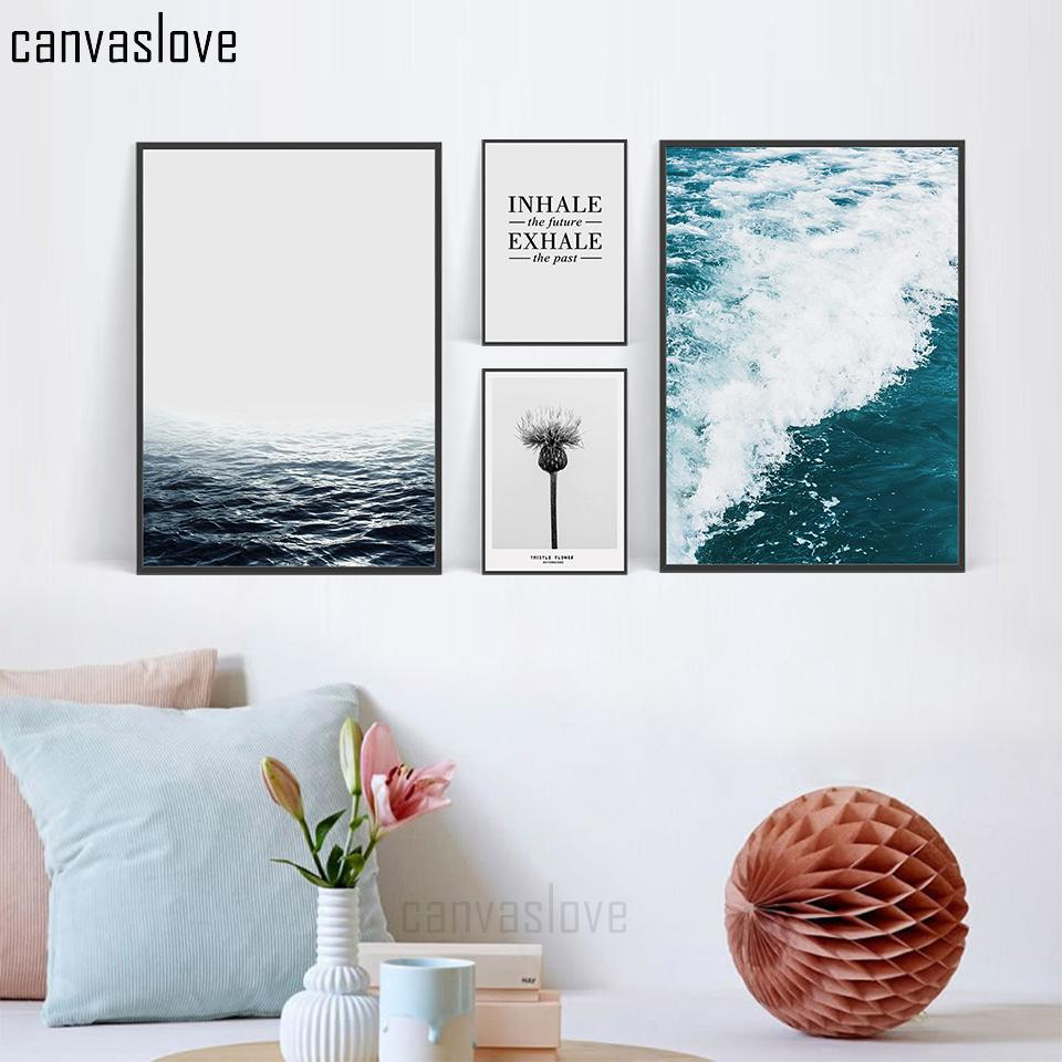 Großhandel Moderne Nordic Sea Blume Ozean Leinwand Kunstdruck Poster ...