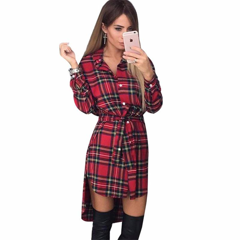 New Spring Women Plaid Shirt Dress Casual Long Sleeve Office Lady ...
