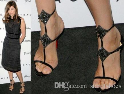 2018 novidade sexy dedo aberto mulher tornozelo tira sandália de ouro preto saltos finos sandália verão sapatos de salto alto rebite vestido sandália