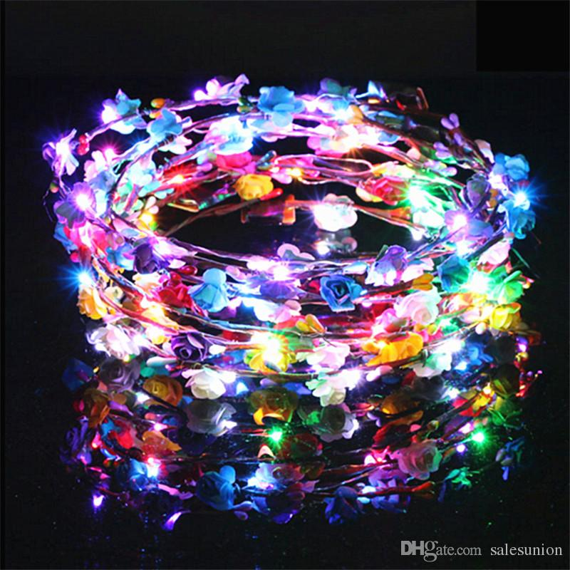 Flashing Led Flower Crown Headband Halloween Wedding Party Light Emitting  Floral Hair Garland Wreath Girl Headpiece Decorative Led Rave Mask Flashing  Led ... b6a7f896110