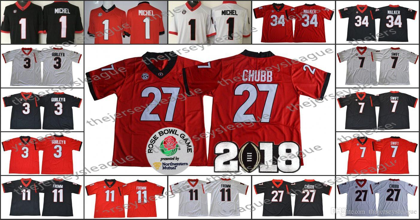 2019 Georgia Bulldogs  3 Todd Gurley II 7 D Andre Swift 11 Jake Fromm 34  Herchel Walker White Red Black Stitched NCAA College Football Jerseys From  ... c99784c69