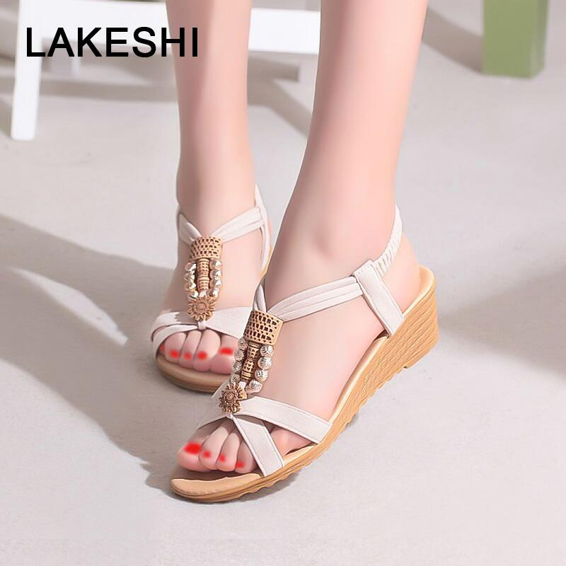 LAKESHI Women Sandals Ladies Sandals 2018 New Summer String Bead Fashion  Bohemian Slip On Casual Flat Shoes Female Canada 2019 From Haikee a3a428cea38b