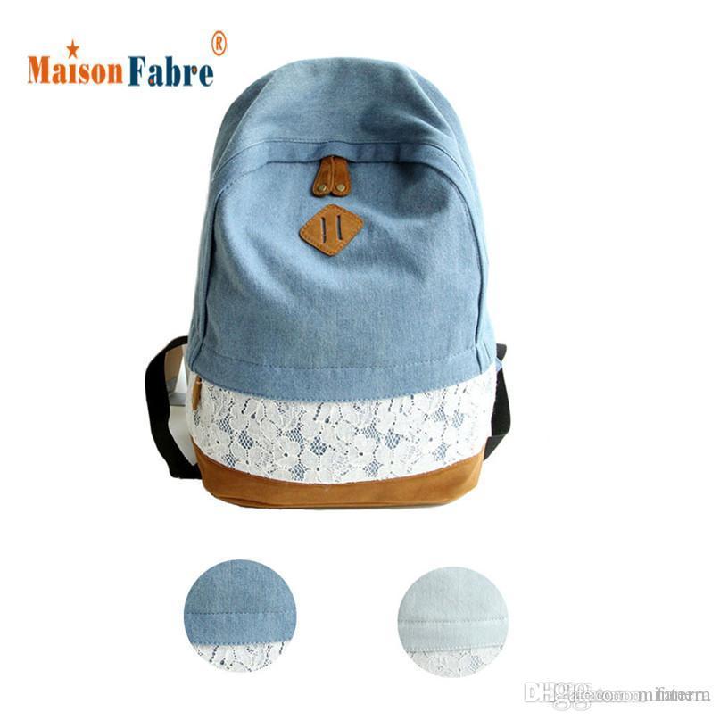 ea7d1d71b6 Wholesale Jasmine Fashion Lace Denim Women Canvas Backpack Schoolbag Nov3  Hydration Backpack Womens Backpacks From Minterm