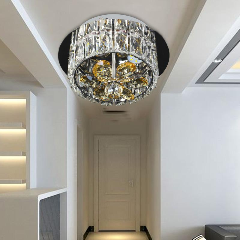 Simple LED European Crystal Chandelier Lamp Living Room Ceiling Lamps Porch  Small Bedroom Lighting Energy Saving Corridor Lamp