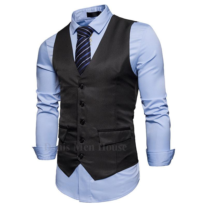 6f878689d37 2019 2018 Men Fall Slim Fit High End Business Suit Vest Male Leisure ...
