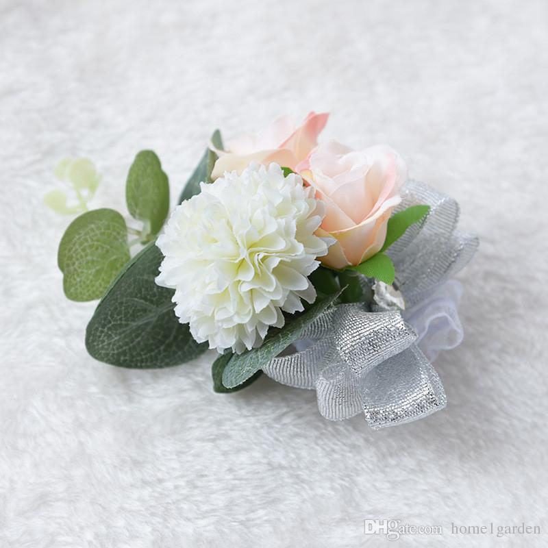 Artesanías de alta calidad Flores de seda Artificiales novia novio corsés y Boutonnieres muñeca flores decoraciones de la boda flores