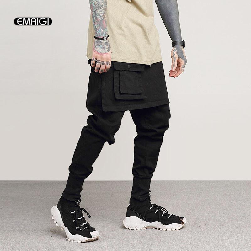 824b626b36aa2 Compre Los Hombres De Moda Falda Casual Pant Street Cargo Pantalones Hombre  Rock Punk Hip Hop Dancer Harem Pant Jogger Sweatpants A  60.07 Del  Eggplant18 ...