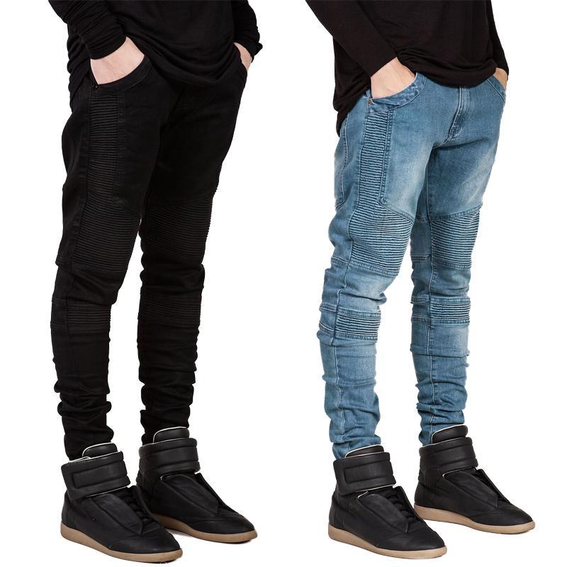 Moda NUEVA jeans arrugados 1Pcs Pantalones elásticos jeans para hombres