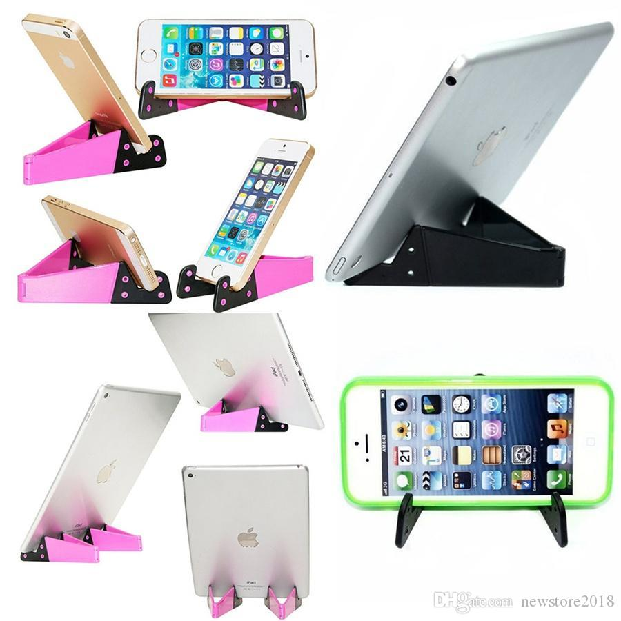 Cell Phone Tablet Stand, Universal Foldable Pocket-sized Plastic V Smartphone CellPhone Desk Holder Mount for iPad, iPhone, Samsung E239