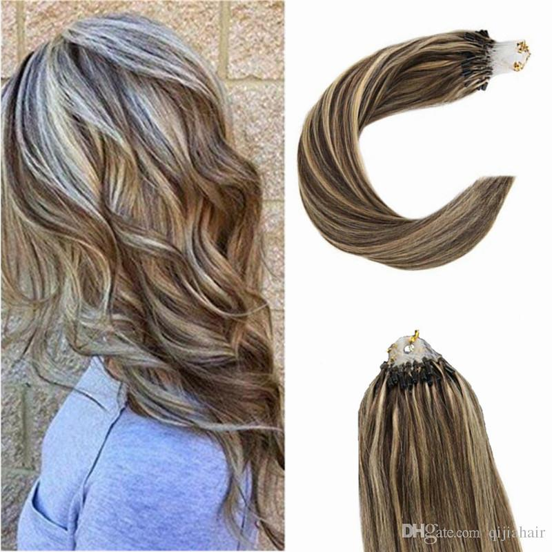 Loop Micro Ring Remy Human Hair Extensions Piano Color 416 1g
