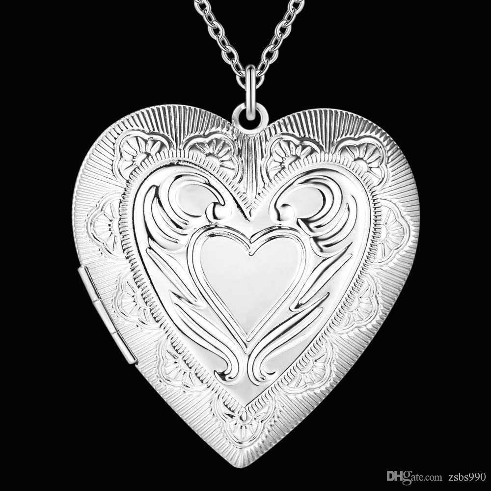 Monili di modo della collana del pendente del Locket del pendente del cuore placcato dell'argento sterlina del commercio all'ingrosso di prezzi di fabbrica le donne San Valentino che spedice liberamente