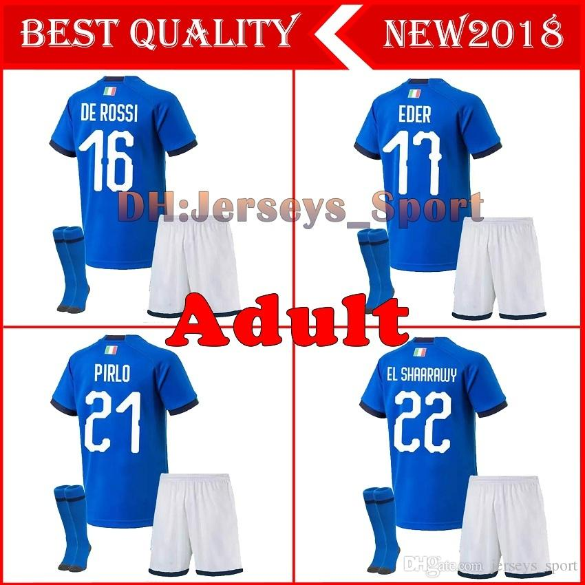51d6df52 2019 Italy Maillot De Foot 2018 Adult Kits+Socks Soccer Jersey CANDREVA CHIELLINI  EL SHAARAWY BONUCCI INSIGNE Chandal 2019 Mens Football Shirt From ...
