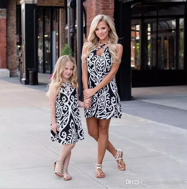 Matching Family Outfits Mother Daughter Family Matching Outfits Bandage Floral Jumpsuit Summer Chiffon Girl Women Boho Loose Jumpsuit