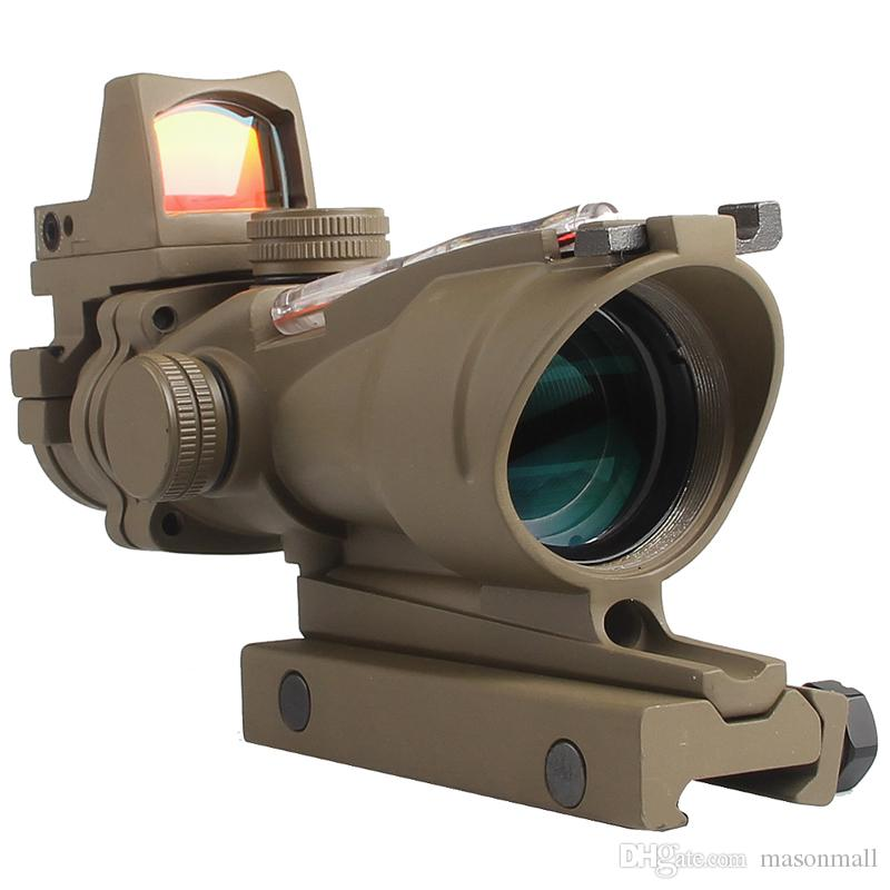 Tactical Airsoft ACOG 4X32 Sight Scope Real Red Fiber Source Red Illuminated Rifle Scope w/ RMR Micro Red Dot For Hunting Field Sport