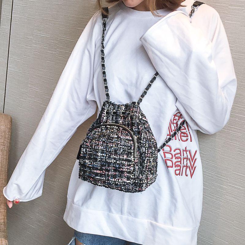 c2a29aa450c2 LEFTSIDE Female Wool Backpack Purse Women Woolen Backpacks Chains Back Pack  For Teenage Girls Mini Vintage Kids Small Bagpacks Dog Backpack Backpacks  For ...
