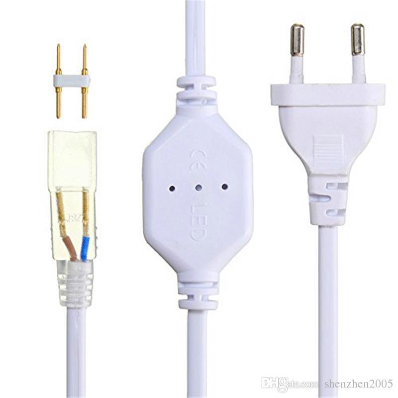 DHL Free 220V110V SMD5050 5630 3528 Connecteur de bande LED flexible prise de courant Fiche étanche U.S./EU pour ruban adhésif