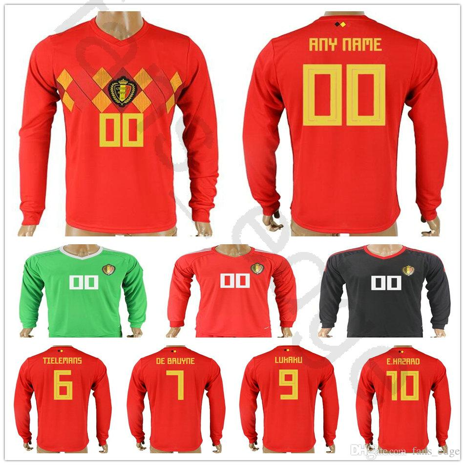 2018 Belgium Long Sleeve Jerseys E.HAZARD LUKAKU FELLAINI KOMPANY DE BRUYNE  MIRALLAS COURTOIS Custom Red Belgian Soccer Football Shirt UK 2019 From ... b5159e58f