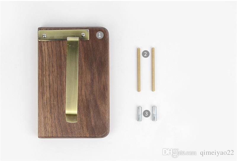 Creative Wood Roller Paper Holders Wall Mounted Tissue Hanging Rack Wall Mounted Bathroom Wooden Paper Holder With Mobile Phone Shelf