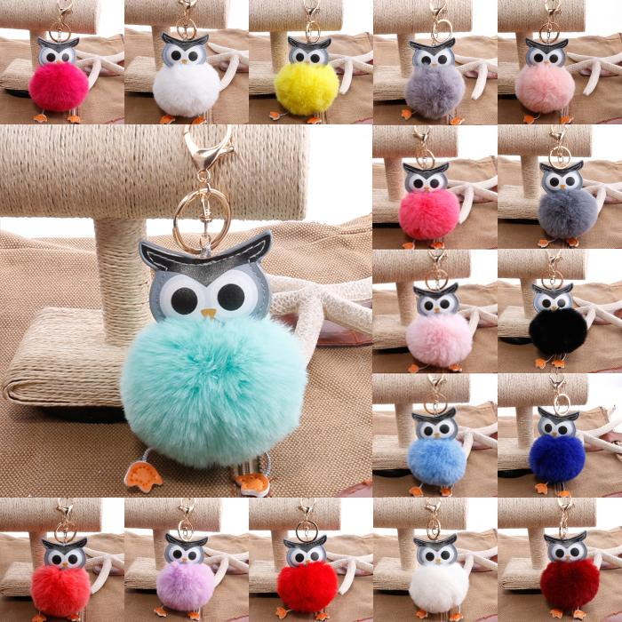 Free DHL 18 Styles Double-Sided PU Owl Hair Ball Keychain Cute Bag Car Hair Ball Pendant Key Rings Cartoon Animal Ornaments Keyfob D513Q