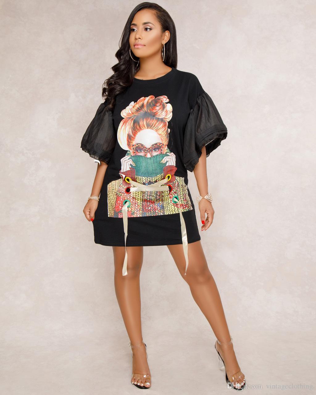 ef1422cdbf8bf Satın Al Yaz Kadın Seksi O Boyun Kısa Elbise Kısa Kollu Baskı Gevşek Mini Günlük  Elbiseler Boyutu M 2XL, $46.24 | DHgate.Com'da