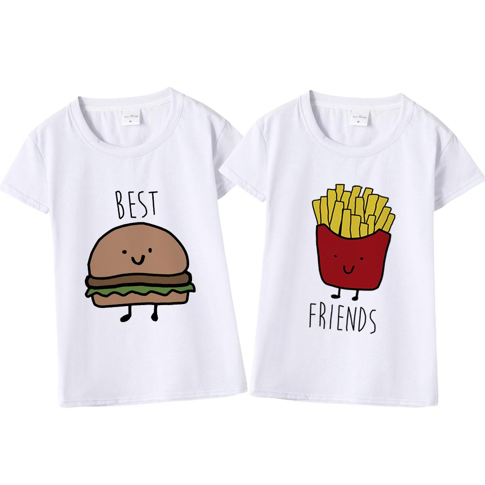 Sales promotion top-rated discount new varieties Funny Design Best Friend Matching T-Shirt BFF T Shirt Women Fast Tee Shirt  for Femme Cotton Tops Tees Hamburger and Fries