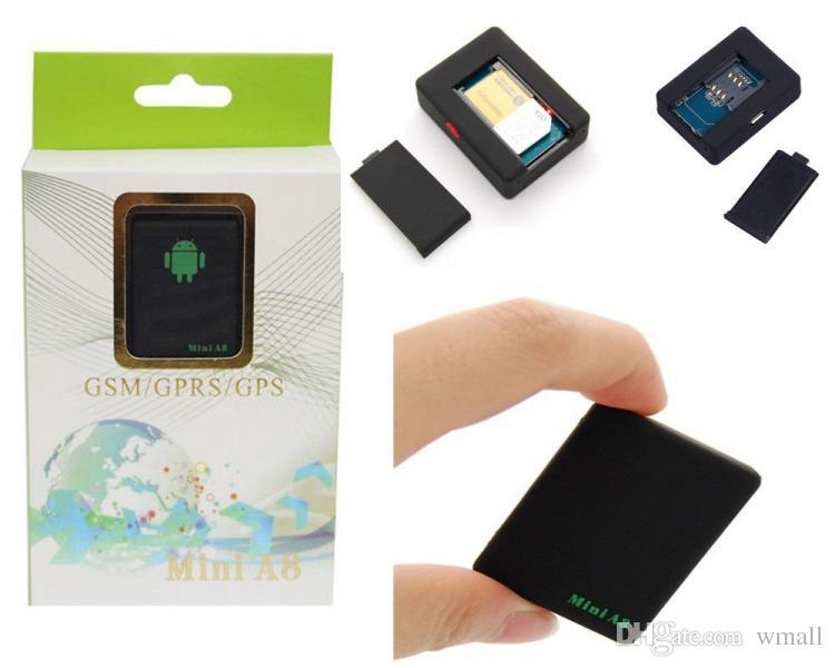 Nouveau mini voiture A8 GPS Tracker Global Temps Réel 4 Fréquence GSM / GPRS Sécurité Auto Tracking Device Support Android pour Enfants Véhicule Pet