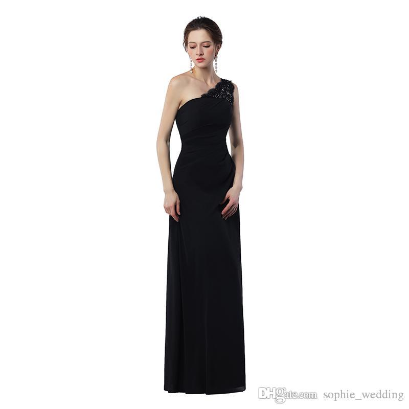 Real sample Custom Made Sexy One-Shoulder Cheap Long Prom Dress Flowing Chiffon With Beading Women Prom Party Gowns
