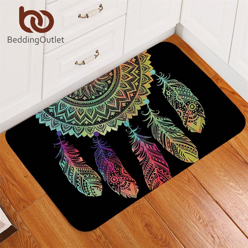 BeddingOutlet Dreamcatcher Carpet Non Slip Soft Rug Mandala Floor Mat Absorbent Bohemian Colorful Feathers Doormat For Bedroom Masland Carpet Frieze Carpet ...
