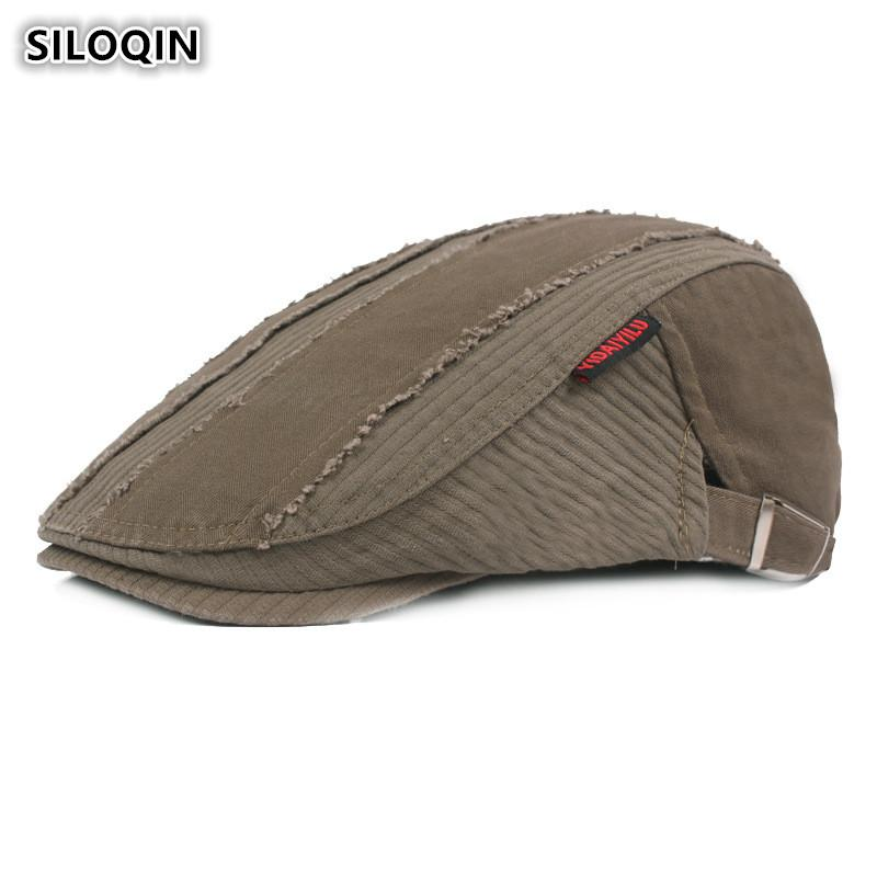 158483a03bae2 SILOQIN Adult Men s 100% Cotton Berets New Made Old Retro Forward ...