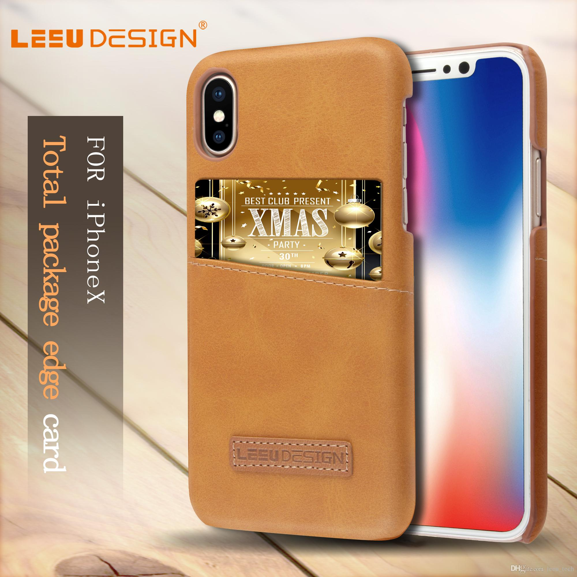 LEEU DESIGN Card Slot PU Leather Phone Case For IPhone X Back Cover Case With Card Slot For Iphone 7 8 Plus For IPhone X Back Cover Phone Case For IPhone X